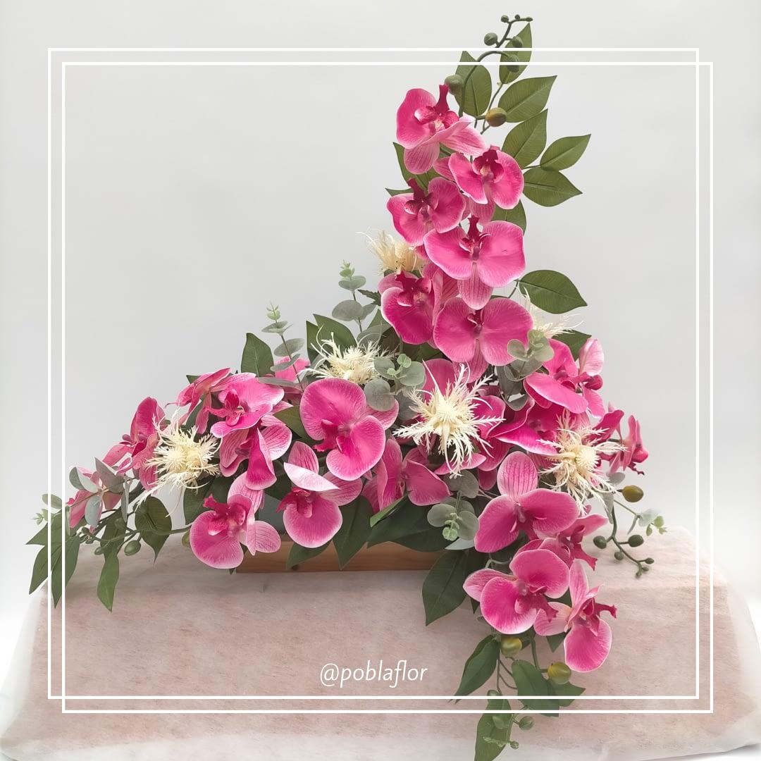 jardinera orquideas rosa