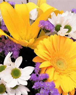 ramo en tonos morados, blancos y amarillos