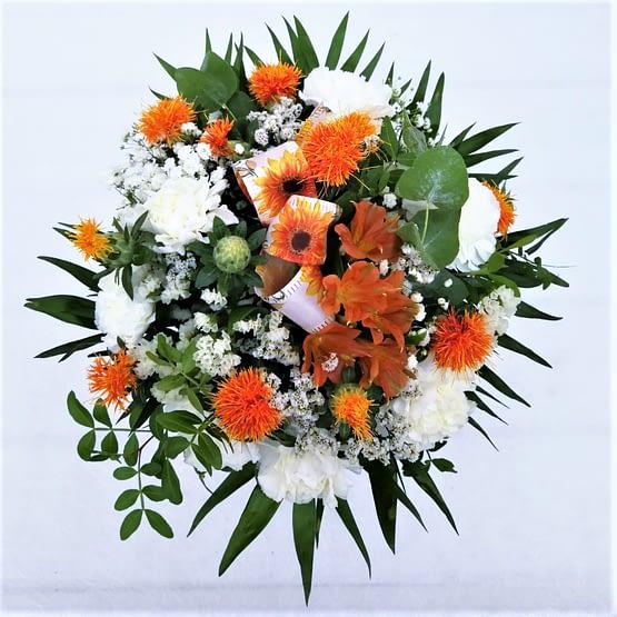 claveles blancos alstromedia naranja