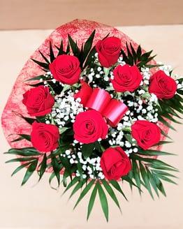 rosa nueve rosas rojas