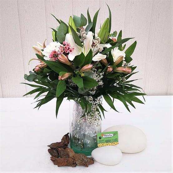 flor de cera rosa lililum blanco