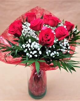 nueve rosas rojas