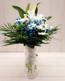ramo en tonos blancos y azules