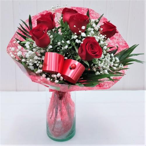 ramo seis rosas rojas